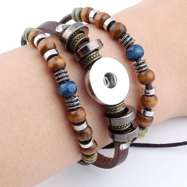 Hot Snap Bracelets Bangles Newest Design Vintage Style Beads Leather Bracelet Fit 18 20mm