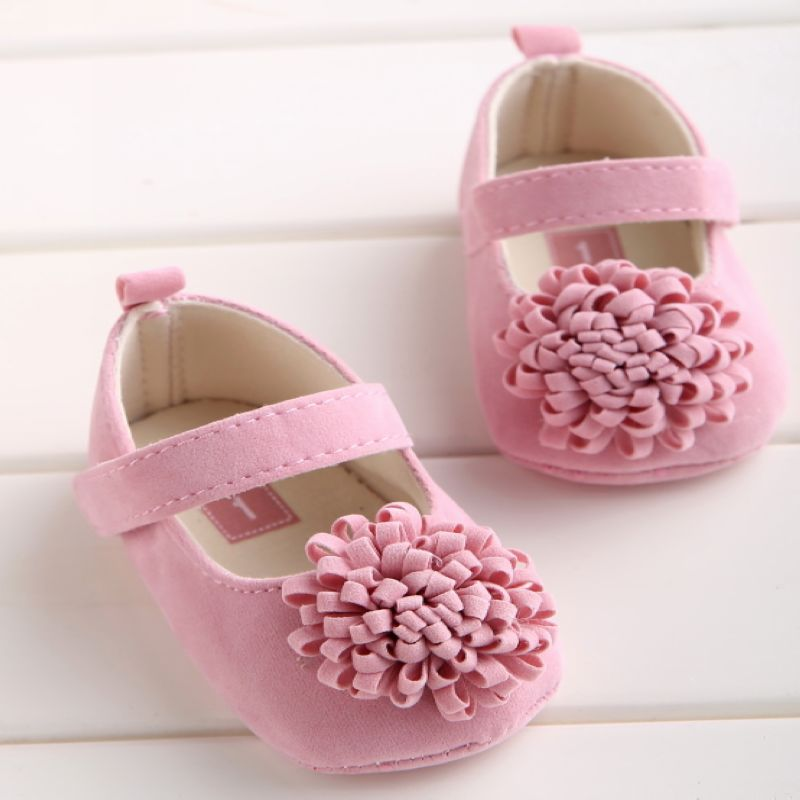 Baby Shoes Prewalkers Newborn Infant Girls Pink with Flower Buckle-Strap Soft-Bottom