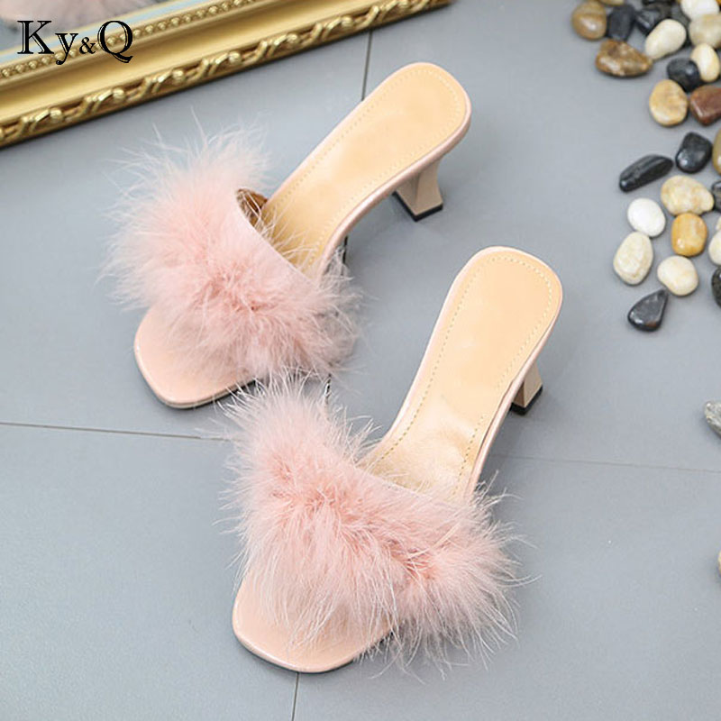 585d353e9eb029 NEW Fur Furry Ostrich Feather Thick Heels Slippers Slides Fashion Ladies  Shoes Flip Flops Sandals Sexy Party Shoes