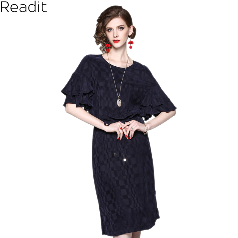 Readit Casual Dress Woman Dress Cascading Ruffle Butterfly Sleeve Dark Blue Pink Dress With Sash Side Split Bottom Dress D2917 readit knitting dress 2017 winter woman dress dark blue wine red knitted dress calf length hollow out bottom casual dress d2558