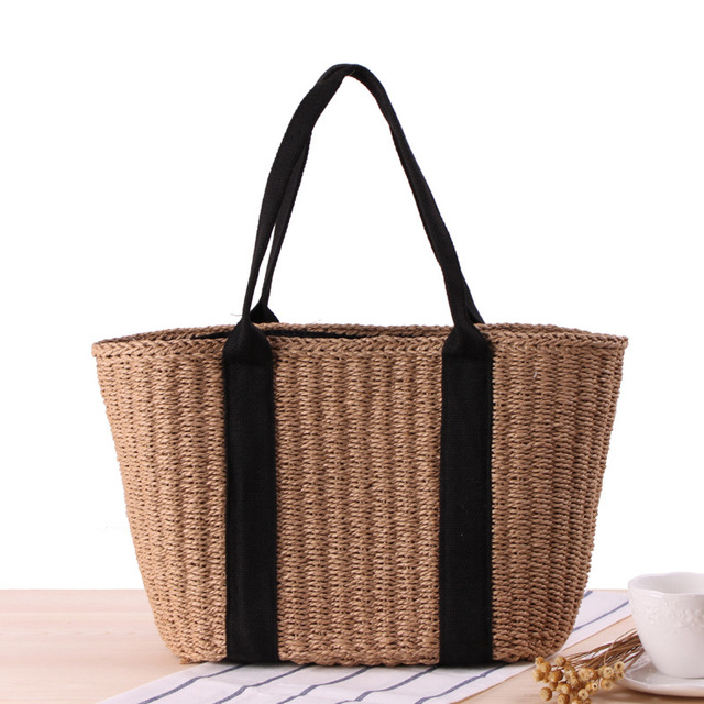 Women Paper Rope Woven Bucket Bag Simple Hand-woven Beach Bag For Lady OL Style Single Shoulder Handbags Retro Rattan Bali Bags