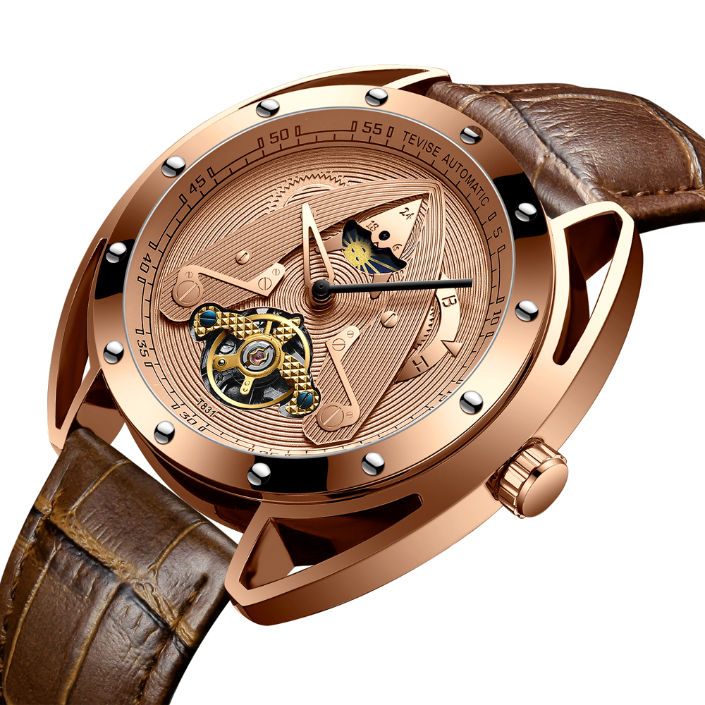 Men Automatic Mechanical Watch TEVISE Luxury Sport Moon Phase Tourbillon Fashion Casual Leather New Watches Relogio Masculino