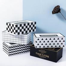 HobbyLane Европейский стиль деревянная коробка для салфеток для дома кухня квадратная Геометрическая полоса салфетница для хранения Casetorage