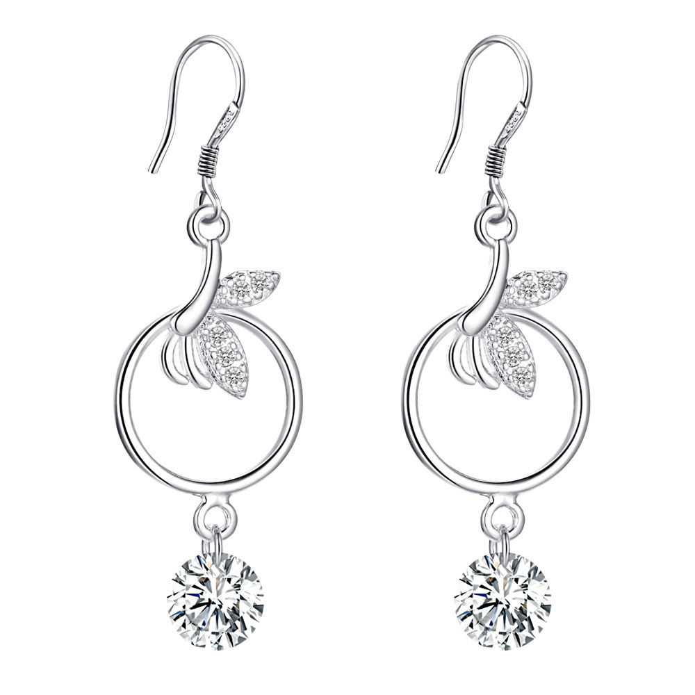 2017 Fashion Silver 925 Jewelry Earrings For Women Wedding Bridal Crystal  Drop Earrings Costume(china