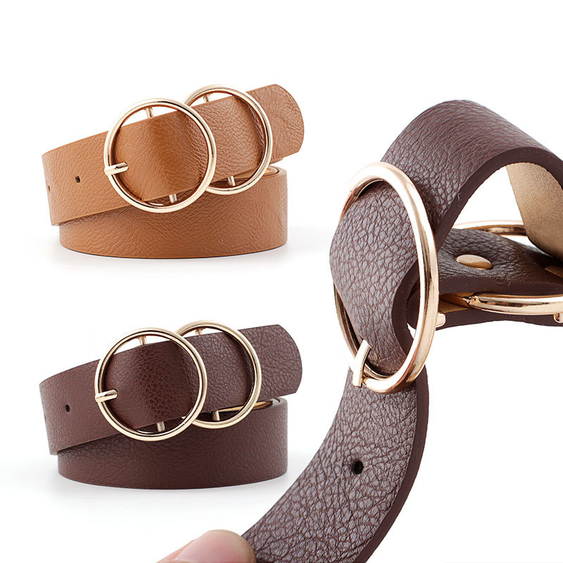 Women's Leather Coat Belt Black Brown Wide Female Big Belly Waist Belts With Holes Gold Round Circle Trouser Strap Belts Ladies