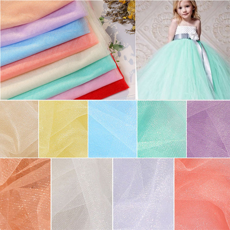 Nylon special flashing mesh cloth pearl Swiss net pettiskirt childrens clothing fabric Wedding stage decor L95