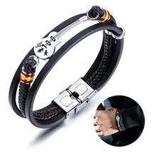 Vintage Men Bracelet PU Leather Punk Guitar Multi Layer Woven Rope Bracelet Stainless Steel Bangle Gift Mens Jewelry Accessories(China)