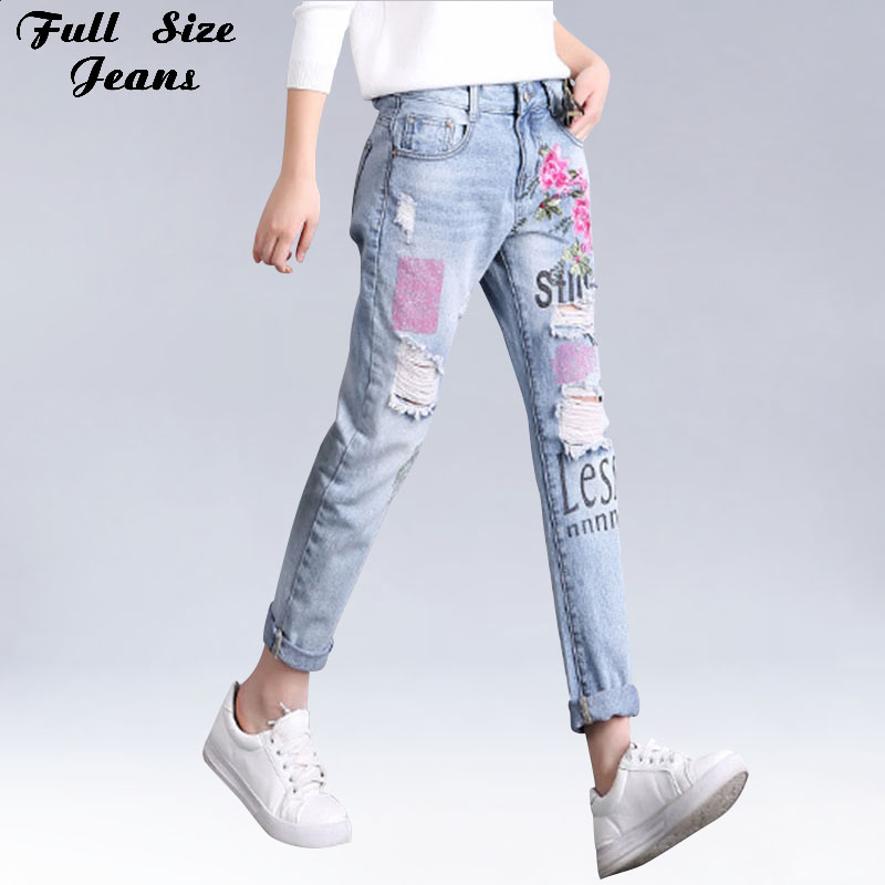 Plus Size Loose Ripped Floral Embroidery Capris   Jeans   3Xl 4Xl Ethnic Ladies Blue Denim Painting Ankle Length Pants Casual   Jeans