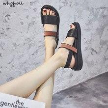 Summer Women Sandals Platform Leather Buckle Strap Metal Gladiator Sandals Comfortable Flat Rome Shoes Ladies Casual Sandals