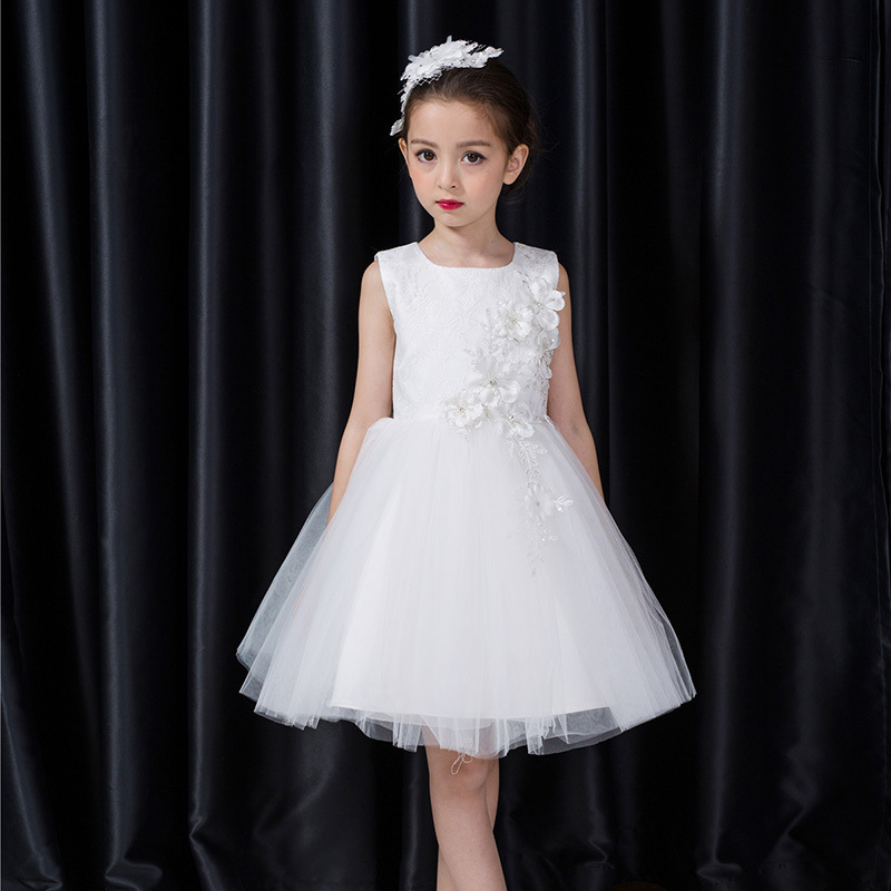 2017 New Toddler Princess Girl Christening Ball Gown Sleeveless Bowknot Flowers Lace Decor Wedding O-neck Noble Formal Dress new arrival hot sale toddler princess girls sleeveless ball gown costume latin show fashion formal dancing dress