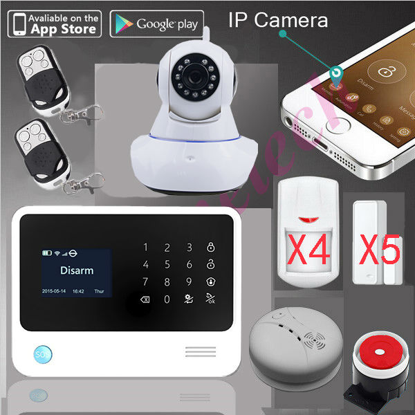 original G90B PLUS WiFi Alarm GPRS Wifi home security GSM Alarm System+SMS alarm support IP camera+fire alarm smoke senser цена