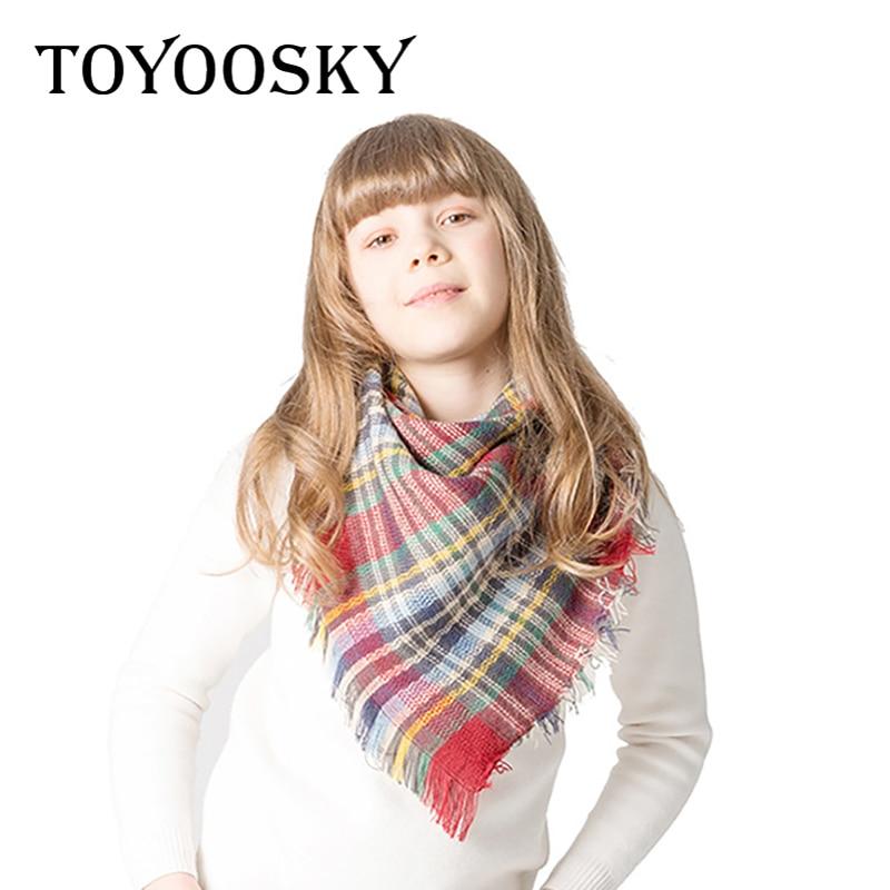 2018 nouveau hiver enfants écharpe Triangle Plaid chaud cachemire cou écharpe châles doux garçons filles écharpe pour marque de luxe Designer