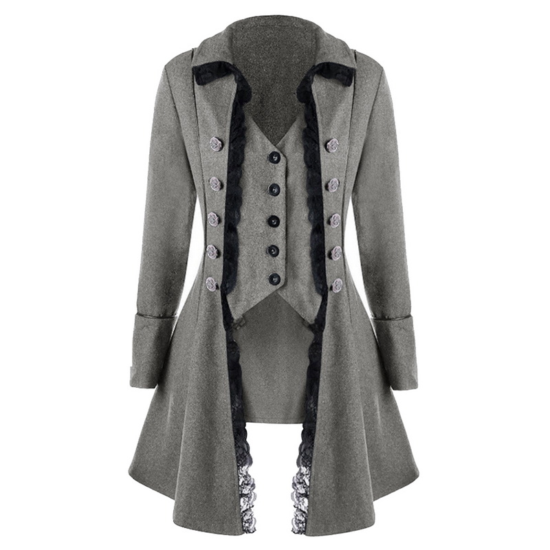 Laamei Lace Trim Long Medieval Jackets Gothic Ladies Cosplay Women Autumn Winter Solid Long Sleeve Three-Breasted Irregular Tops
