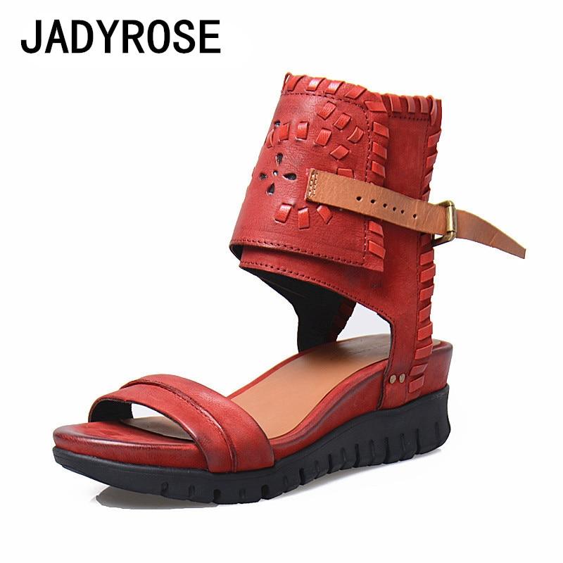Zapatos Chaussures Femmes Casual La Wedge forme Gladiateur Cheville Rouge Light Brown Conception Donna À Rome Mujer Sandales Cuir rouge Femme D'été Plate En Scarpe Bride fqwPvAU