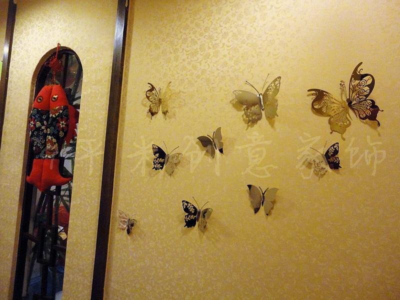 12*9.8cm 3d Butterfly Wall Decor Mirror Wall Sticker 3D mirror ...
