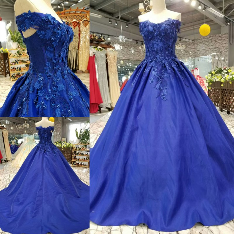 Royal Blue Satin Ball Gowns Wedding Dresses