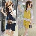 2017 весной и летом осенью новый костюм девушки Корейской моды рубашка из трех частей внешней торговли детской одежды