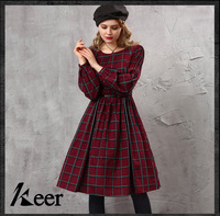 Vintage 50s Red Black Plaid Dress For Women Hepburn Autumn Winter Classic Brand Long Sleeve O