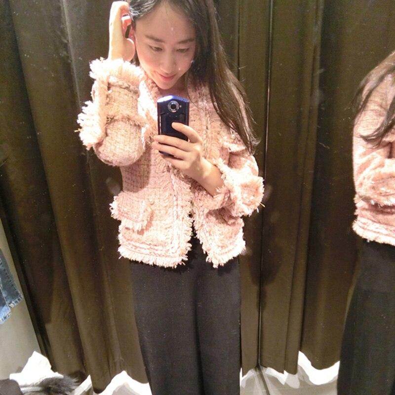 Япония импортная ткань кардиган порошок золотой твидовый пиджак 2019 весна осень женский новый длинный рукав тонкий короткий кардиган куртк...