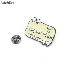Patchfan Letter crying in a cool way Zinc alloy tie pins badges shirt bag clothes cap backpack brooches decorations A1431