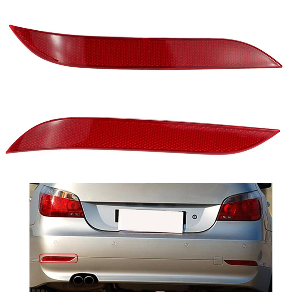 Pair LH RH Rear Bumper Reflector Light for BMW 2003-07 5-Series E60 E61-Red Lens