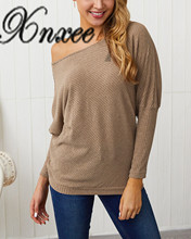 Xnxee Spring and Autumn New Sexy Show Shoulder Bat Sleeve Knitted Shirt Top Womens Wear