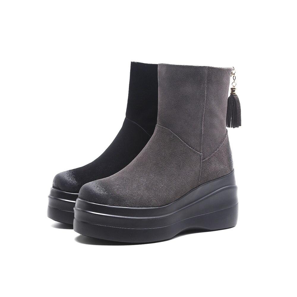 Plate Cales forme Dames Rond Gris Bout Cheville Bottes En Nouvelle Cuir Suede Femmes D'hiver Chaussures Mode Asumer gris Noir Fermeture 2018 Noir Éclair xFWOYwqz76