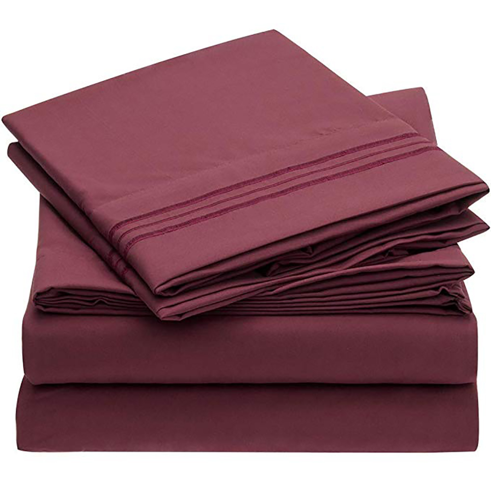 Sanbest Bed Sheet With Pillowcase 4pcs Mattress Covers Fitted Sheet Sets With Elastic For King Size Bedding Sheet Sets JF00001