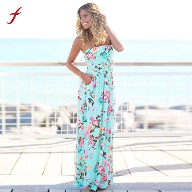 a0dcdc7685e7a Bayan Saç Bandı Tatil uzun elbise Bayanlar Yaz Çiçek Maxi Elbise bayanlar yaz  elbiseler rahat elbise