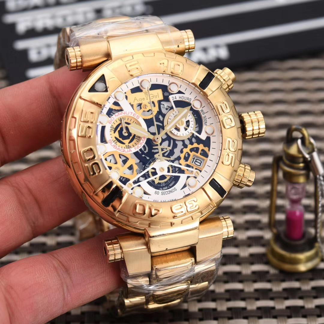 Marque de luxe Nouvelle Montre Homme Quartz Chronographe Chronomètre Saphir Réserve En Acier Inoxydable Lumineux Squelette Or Rose Étanche