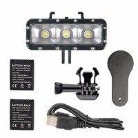 Dual Battery LED Flash Video Light Gopro Waterproof Diving Fill Night Lamp Mount For Xiaomi Yi