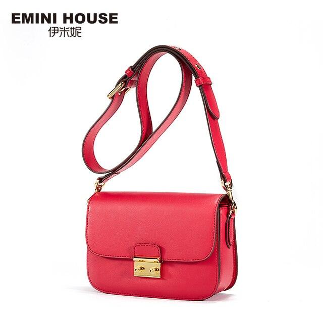 Эмини дом Винтаж клапаном замка Сумки Разделение кожа Для женщин сумка Мода Crossbady Сумки высокое качество Для женщин сумка