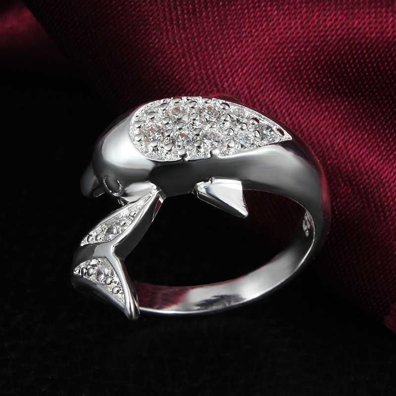 1 قطعة جديد أزياء الفضة مطلي الشرير الأسود كريستال دولفين خواتم للنساء