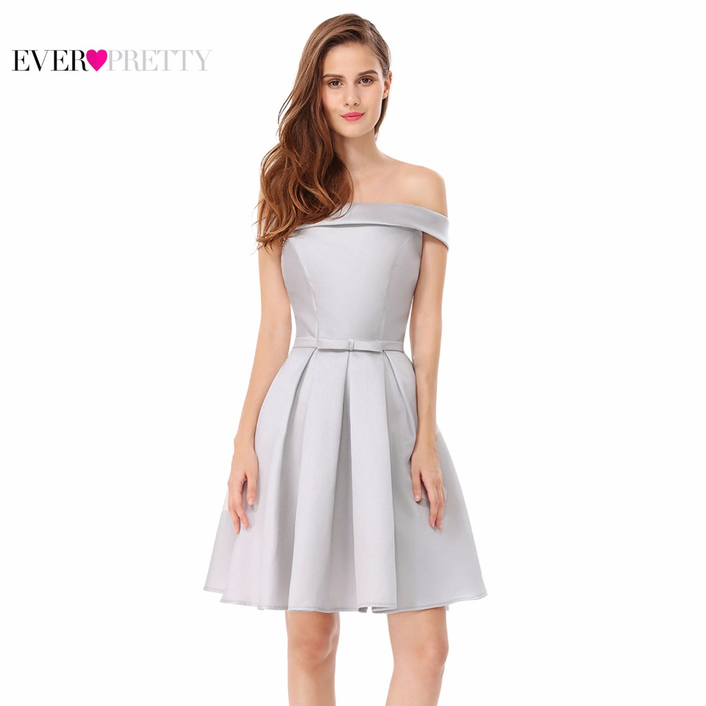 Cocktail Dress Ever Pretty EP05578GY Women Sweetheart Elegant Off-The-Shoulder Sleeveless Short Girls Homecoming Party Dress