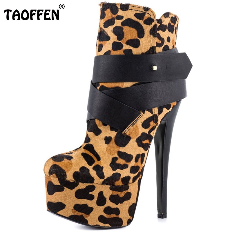ФОТО Women High Heel Boots Thin Heels Platform Shoes Woman Sexy Leopard Quality Vintage Botas Party Heeled Footwear Size 35-46 B020
