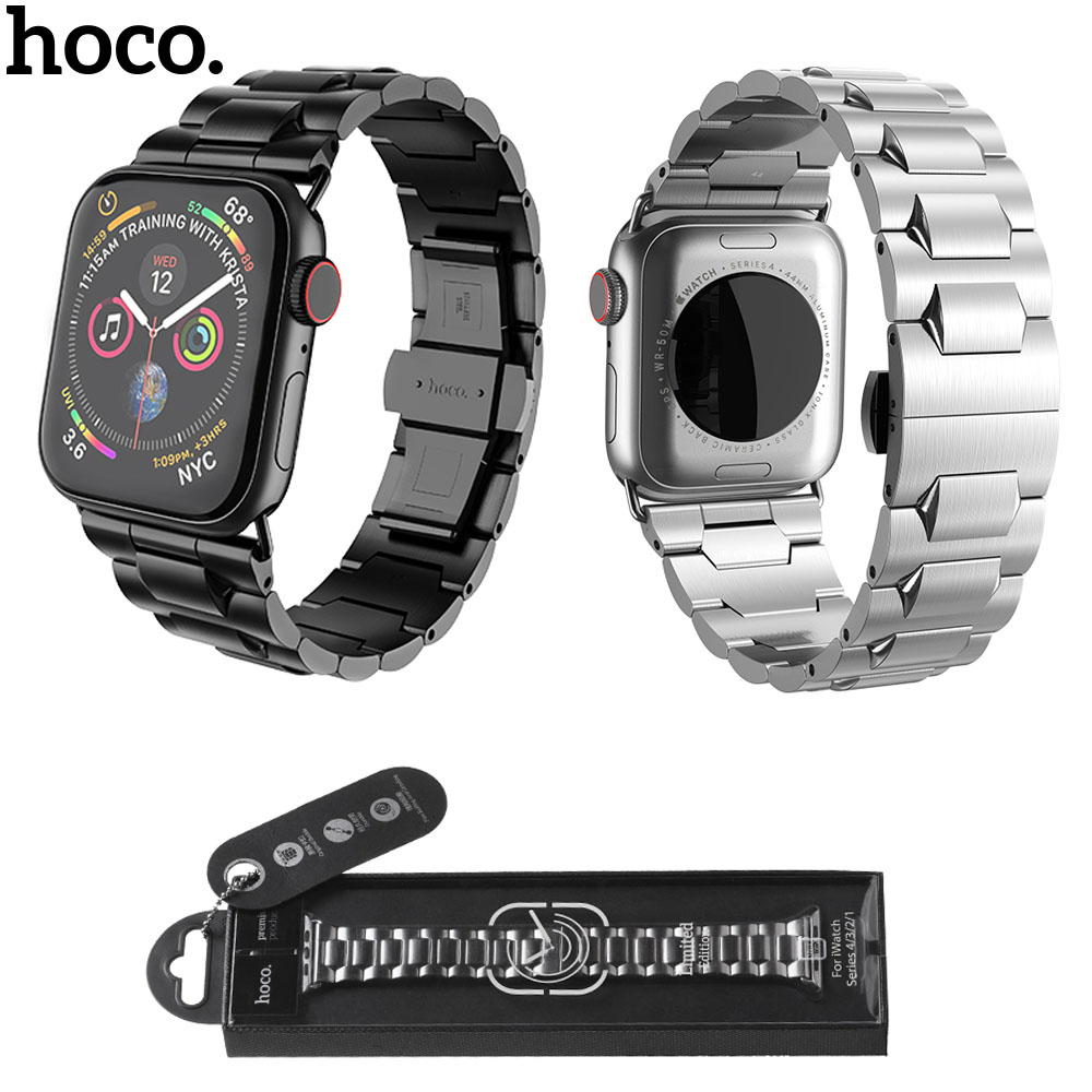 HOCO Brand Stainless Steel Strap for Apple Watch Series 1 2 3 4 Band Butterfly Buckle Bracelet for iWatch 42/44mm 38/40mm StrapHOCO Brand Stainless Steel Strap for Apple Watch Series 1 2 3 4 Band Butterfly Buckle Bracelet for iWatch 42/44mm 38/40mm Strap