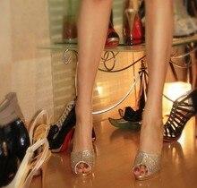 Мода стиль горный хрусталь дикий шпильках дамы сандалии и тапочки Сексуальные Ночной Клуб Обувь, Шлепанцы Пром Сандалии