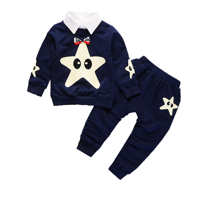 2018 New Fashion Baby Clothes Children Boys Girls Removable Collar T-shirt Pants 2Pcs/Sets Kids Cartoon Clothing Sets Tracksuits