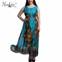 Nemidor Women Casual O-neck Party Vintage Chiffon Dress Plus Size 7XL 8XL 9XL Sleeveless Print Long Dress