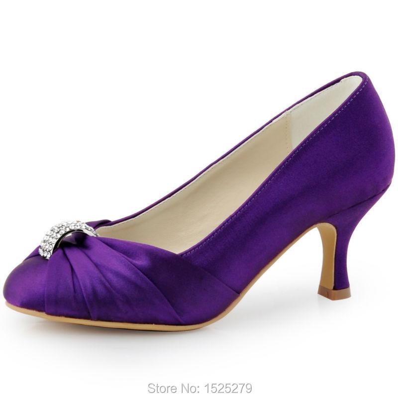 340072f5f88 HC1526 Purple Women Shoes Closed Toe Spool Low Heel Bride Ladies  Bridesmaids Rhinestone Satin Bridal Evening