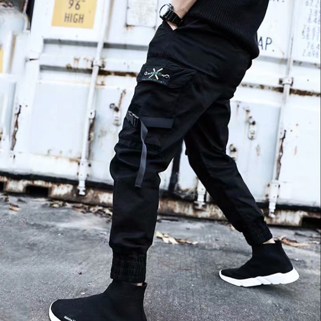 2019 NEW Streetwear Ribbons Casual SweatPants Black Slim Mens Joggers Pants Side-pockets Cotton Camouflage Male Trouser 4