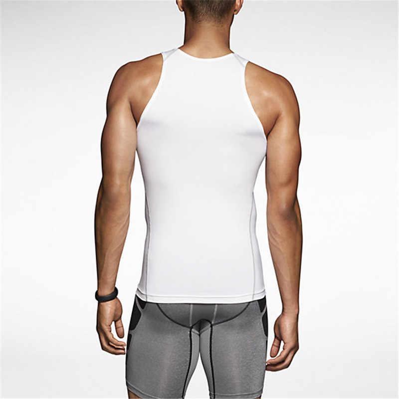 Летние мужские майки сжатия повседневная одежда черный, белый цвет жилет без рукавов Упругие Фитнес Мужские Жилеты синглет для бодибилдинга F50