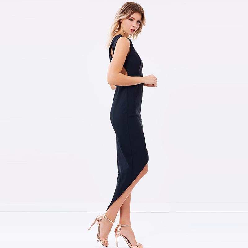 HDY Haoduoyi Solid Black Sexy Backless Sleeveless Dress High Low Bodycon Party Dress Elegant Zipper Braces Dress 6