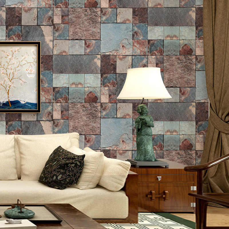 Chinese Classical 3D Embossed Brick Wallpaper Retro Waterproof Thickened PVC Vinyl Wall Paper Roll Living Room Bedroom 3D Tapety