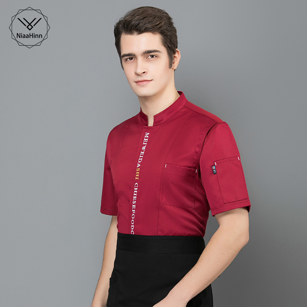 New Unisex Restaurant Kitchen Chef Uniform Shirt Breathable Short Sleeves Chef Jacket+cap+apron Works Clothes For Men Wholesale