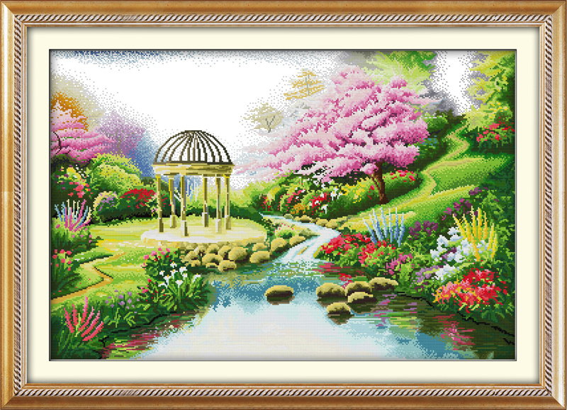 Reliable Romantic Garden,counted Printed On Fabric Dmc 14ct 11ct Cross Stitch Kits,embroidery Needlework Sets,crafts Home Decor Home & Garden