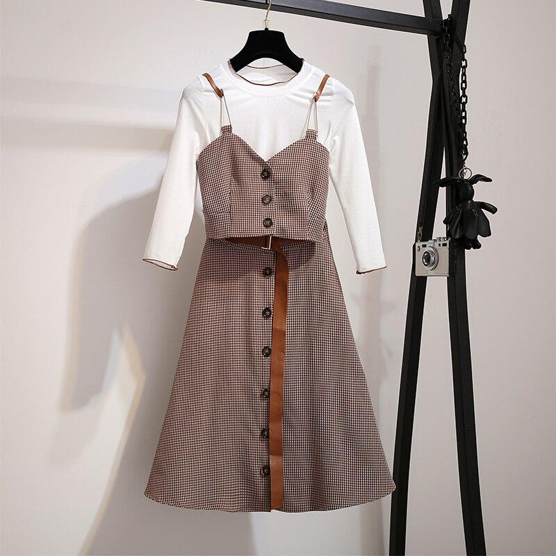 Femmes costume 2018 automne nouveaux vêtements, robes de femmes cool, taille haute saut, costumes à carreaux, petit parfum, deux pièces beau.