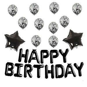 Image 4 - Conjunto de balões laminados de aniversário, kit de balões com letras de festa de aniversário infantil rosa de ouro feliz aniversário e crianças 16 Polegada