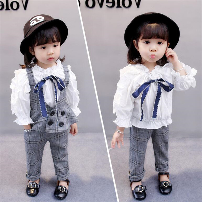 Girls Clothing Sets 2017 Autumn Long Sleeve Lace White Kids T shirt+Plaid Vest+Plaid Girls Pants Toddler Winter Clothes Sets цены онлайн