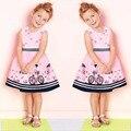 2016 Brand New Summer Princess Cute A-Line Vestido Niñas Ropa de Bebé de Algodón Sin Mangas de Impresión Vestidos